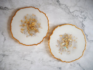 White Iridescent Geode Resin Coaster Set