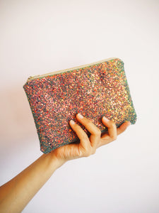 bronze glitter makeup bag