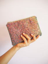 sparkly bronze makeup bag