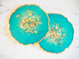 Jade Green Resin Geode Coaster Set