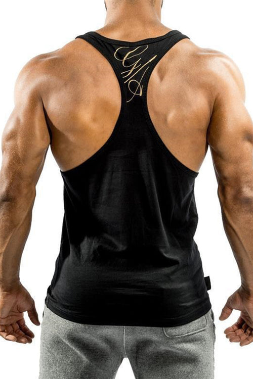 GA men black stringer tank top t-back gym bodybuilding fitness bodybuilder streetwear Cyprus tanktop Gym Aesthetics gold gym clothes μαύρη μαύρο χρυσό αντρική φανέλα γυμναστηρίου αθλητικά ρούχα Κύπρος