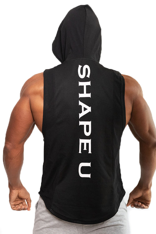 men black sleeveless hoodie gym bodybuilding bodybuilder fitness streetwear Cyprus tanktop Fitness Wolf gym clothes μαύρη αντρική φανέλα γυμναστηρίου αθλητικά ρούχα Κύπρος