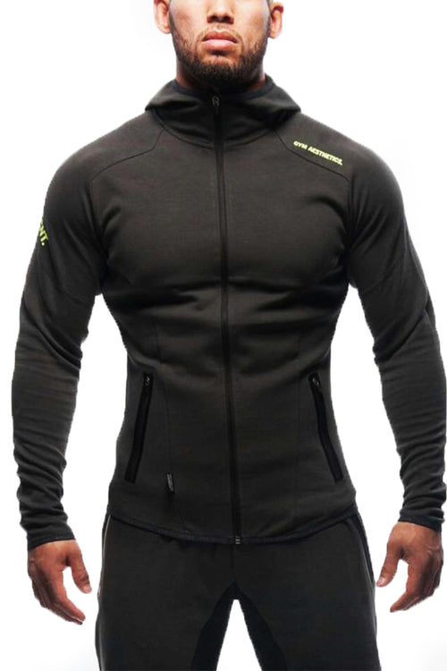 grey zipper hoodie footer gym clothes bodybuilding bodybuilder fitness streetwear cyprus fitness clothing gym aesthetics sportswear γκρι φόρμα γυμναστηρίου αθλητικά ρούχα αντρικό αθλητικό φούτερ Κύπρος