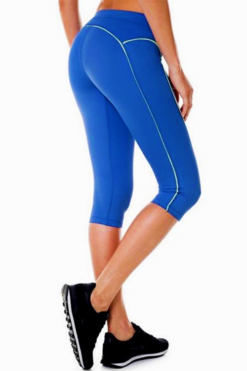 blue leggings push up work-out fitness spandex polyester calf length κολάν gym clothes cyprus sports sportswear αθλητικά ρούχα κύπρος γυμναστήριο μπλέ 3/4 capri