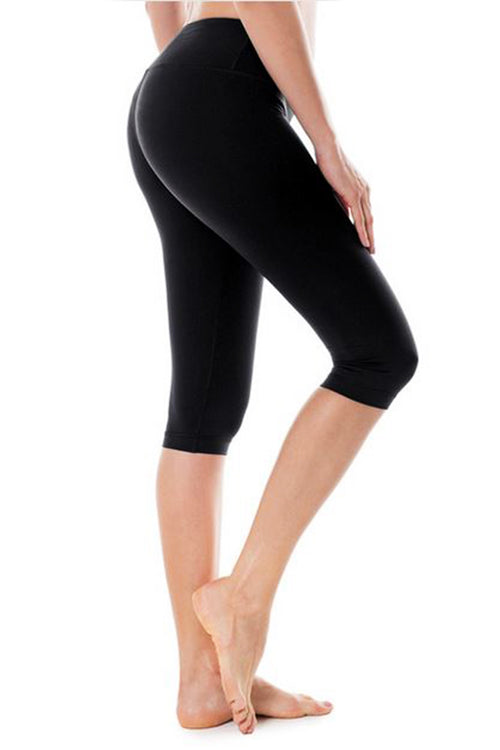 black 3/4 calf length leggings push up work-out fitness spandex polyester κολάν gym clothes cyprus sports sportswear αθλητικά ρούχα κύπρος γυμναστήριο μαύρο capri