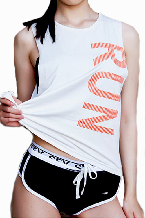 white run top gym tanktop women Cyprus fitness sports clothes άσπρη γυναικεία αθλητική φανέλα αθλητικά ρούχα γυμναστηρίου Κύπρος