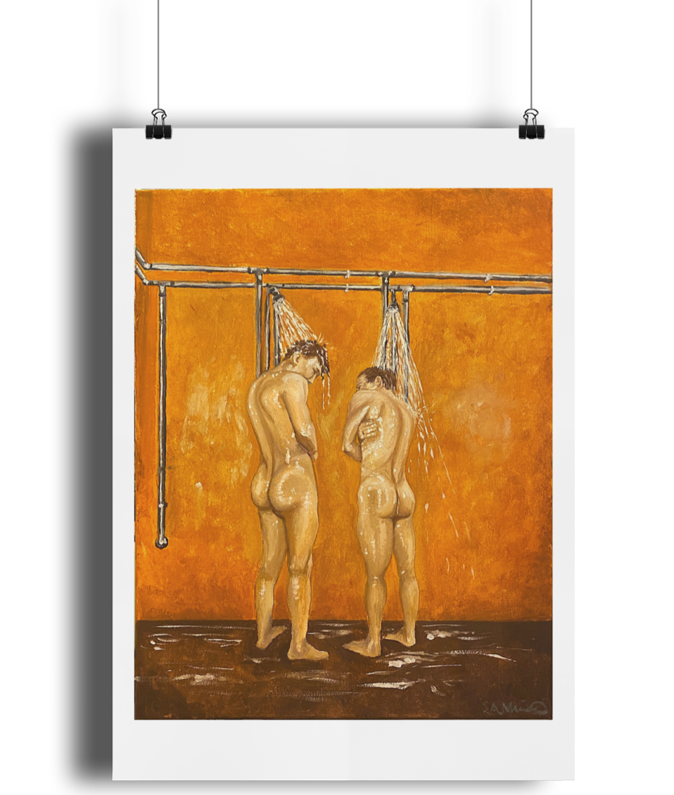 'Two Men Showering' Art Print Poster