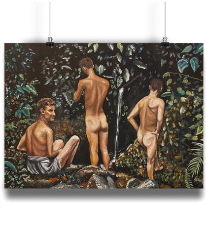 '3 Men Bathing In The Jungle' Art Print