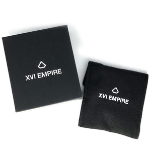 Black box, black velvet pouch, XVI EMPIRE