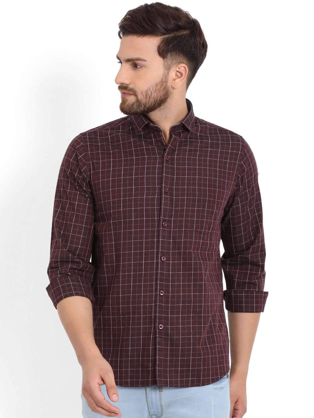 Richlook Wine Checked Casual Shirt