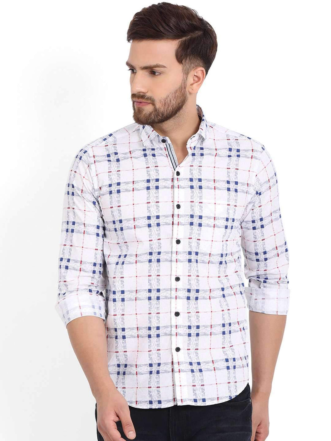 Richlook White/Grey Printed Casual Shirt