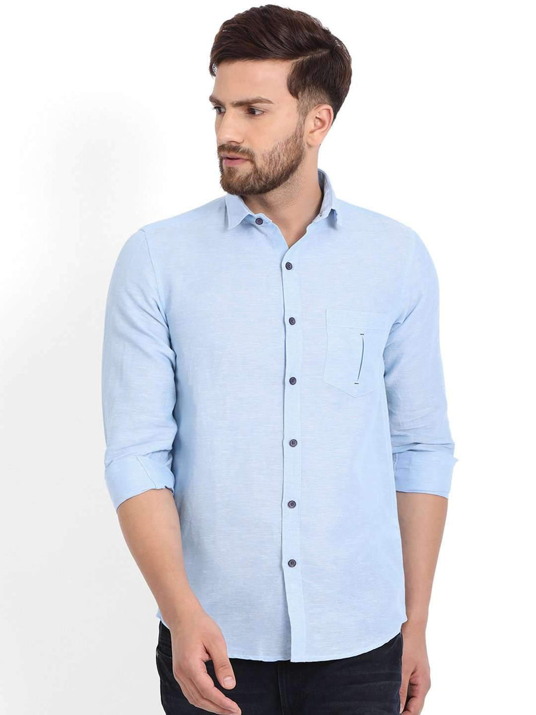 Richlook Blue Solid Casual Shirt