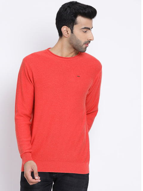 Orange Milange Round Neck Casual Sweater