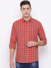 Rust Blue Slim Fit Casual Shirt