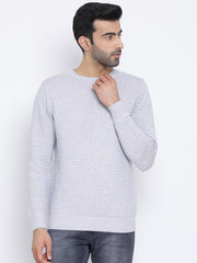 Grey Round Neck Casual Sweater