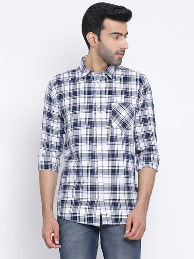 White Blue Slim Fit Casual Shirt