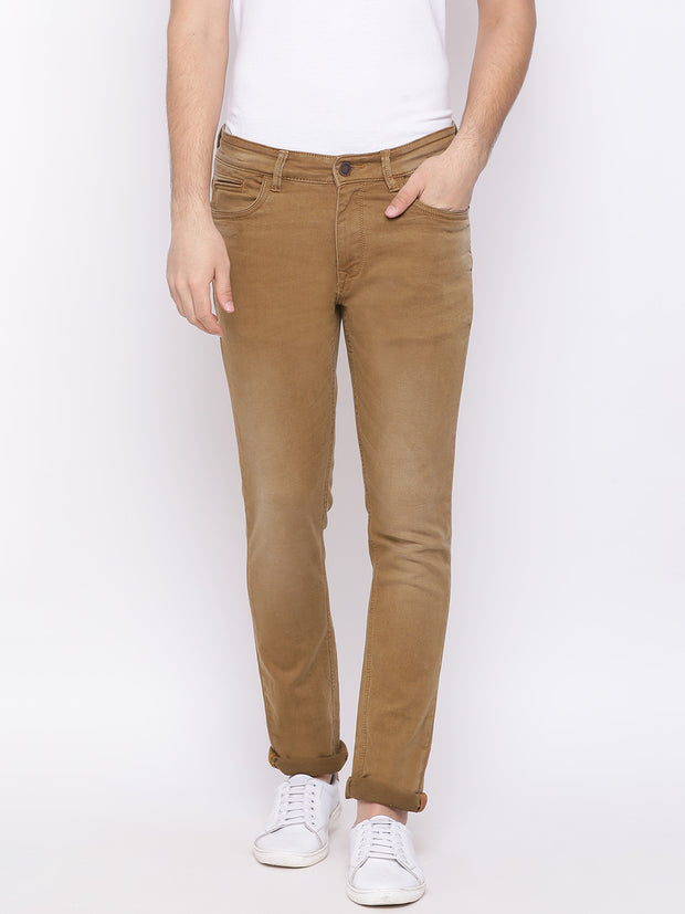 Khaki Casual Classic Fit Jeans