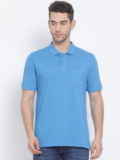 Men Turq Blue Regular Fit Solid Polo Neck T-Shirt