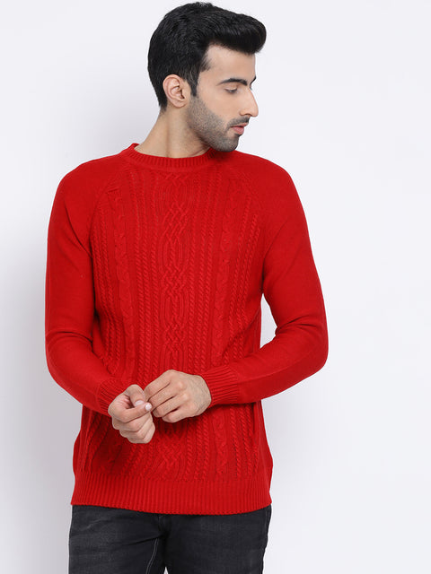 Red Round Neck Casual Sweater