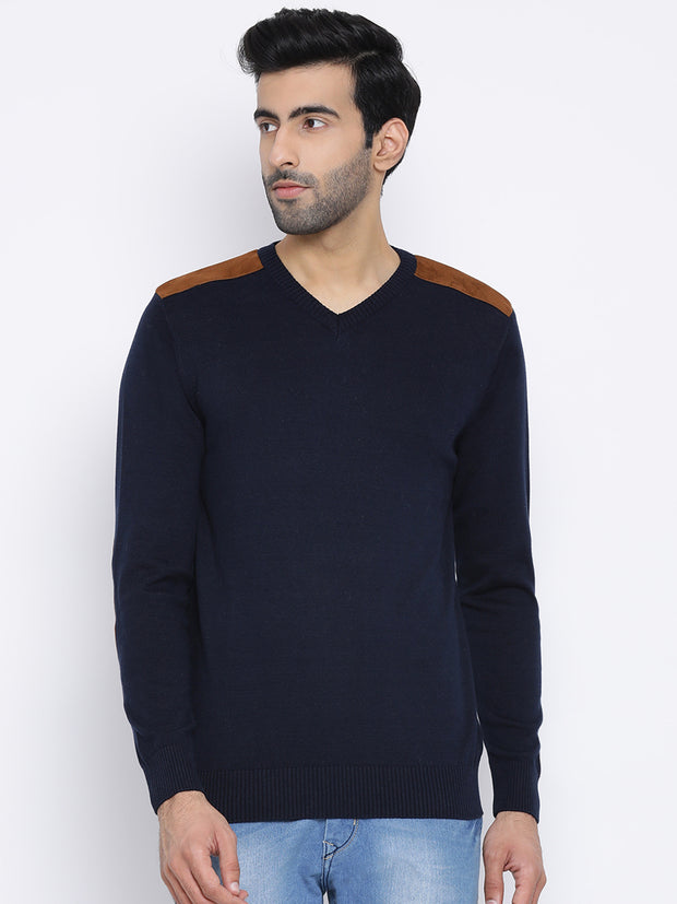 Navy Round Neck Casual Sweater