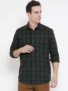 Richlook Green Blue Casual Slim Fit Shirt