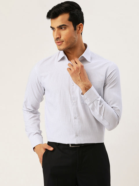 White and Blue Formal Regular Fit Shirt