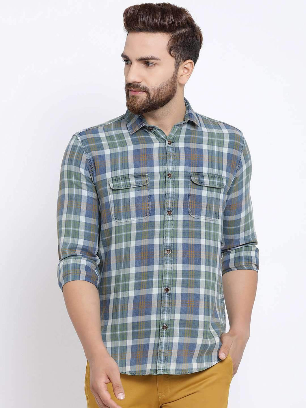 Richlook Men Blue & Red Slim Fit Checked Casual Shirt