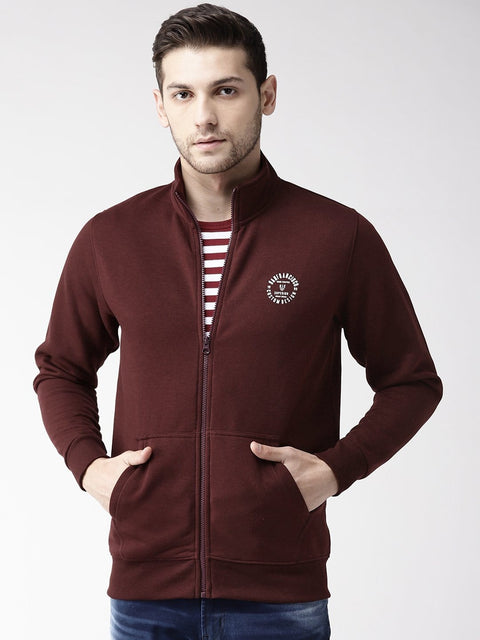 Wine Solid Zipper Sweatshirt