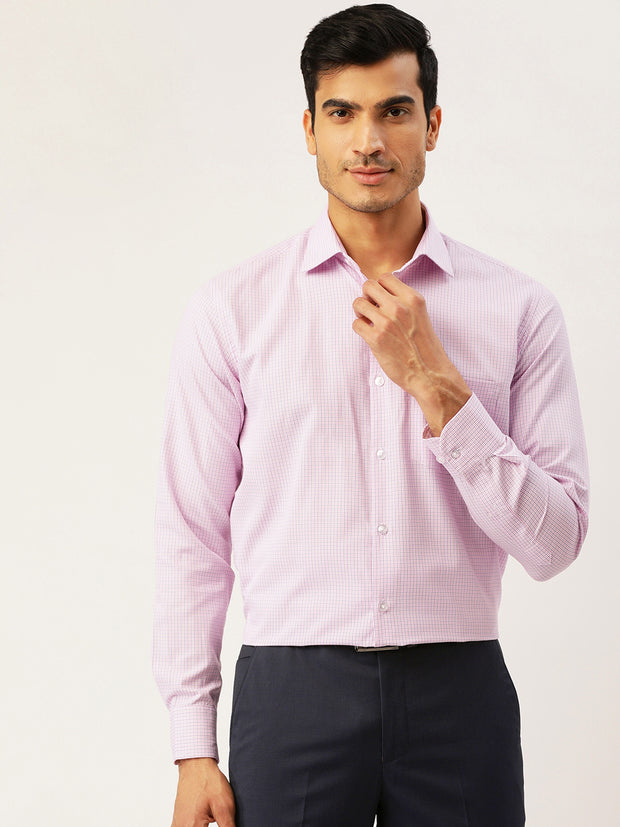 White and Pink Formal Regular Fit Shirt