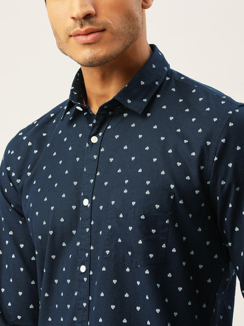 Navy White Slim Fit Casual Shirt