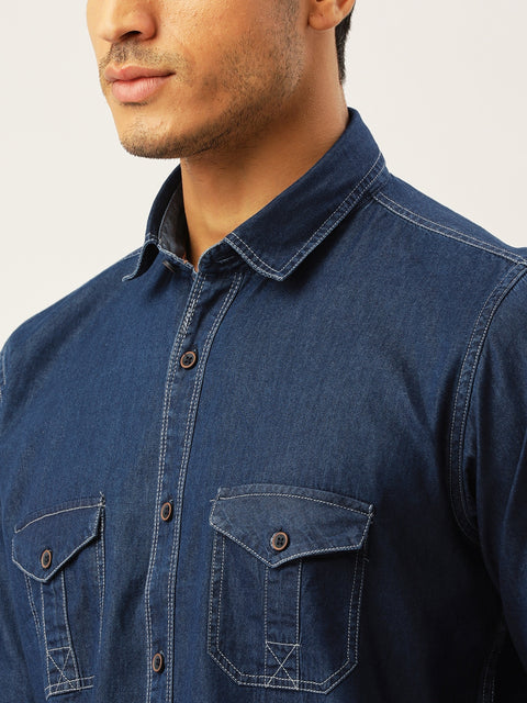 Blue Slim Fit Denim Casual Shirt