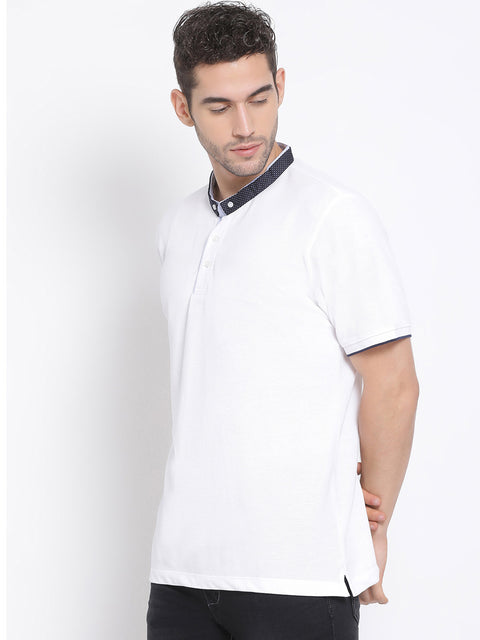 Men White Regular Fit Solid Polo Neck T-Shirt