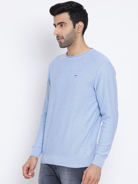 Sky Blue Milange Round Neck Casual Sweater