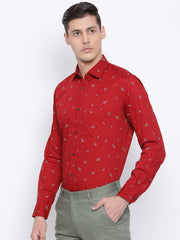 Red Slim Fit Clubwear Shirt