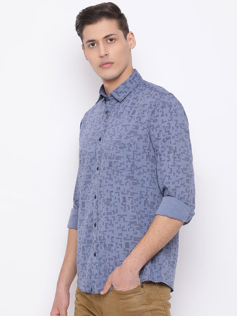 G.Blue Slim Fit Casual Shirt