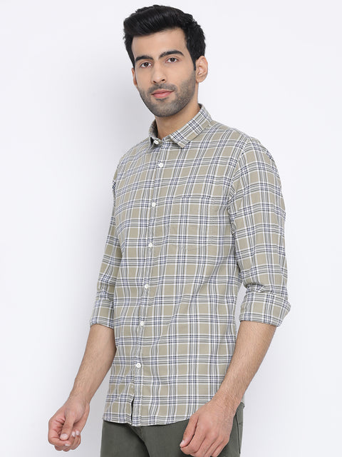 Olive Blue White Slim Fit Casual Shirt