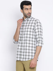 White Olive Blue Slim Fit Casual Shirt