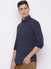 Navy Grey Slim Fit Casual Shirt