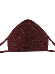 Maroon Oval Shape Printed Mask