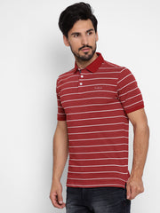 Maroon Regular Fit Striped Polo Neck T-Shirt
