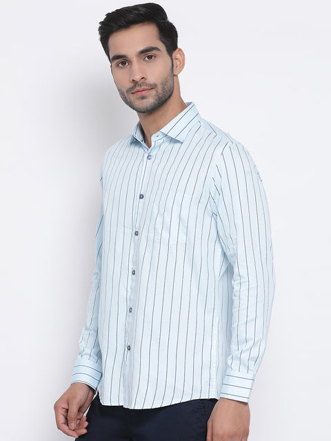Men Sky Slim Fit Stripe Club Wear Shirt
