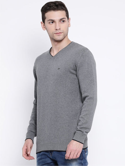 Grey V-Neck Sweater side view