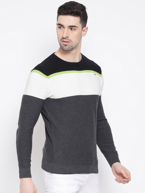 Black Grey & White Stripped Sweater for men