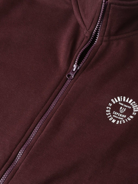 Wine Solid Zipper Sweatshirt close view