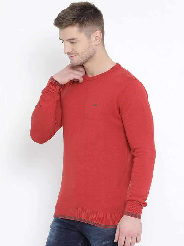 Red Milange Sweater side view