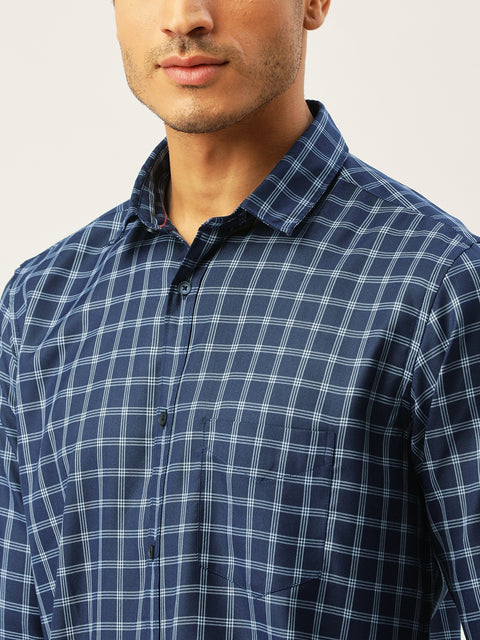 Navy Blue Slim Fit Casual Shirt