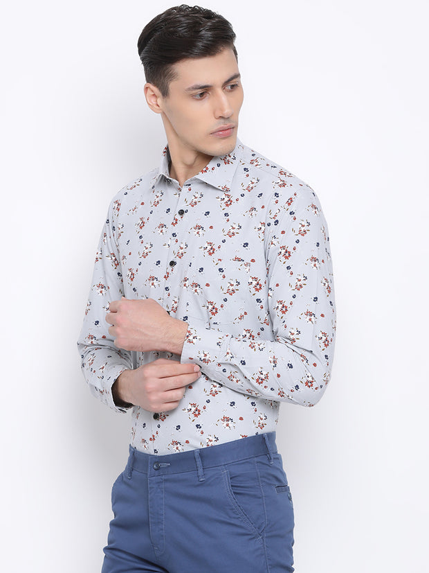 Grey Slim Fit Clubwear Shirt