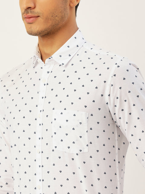 White Navy Slim Fit Casual Shirt