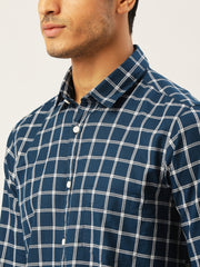 Blue White Slim Fit Casual Shirt