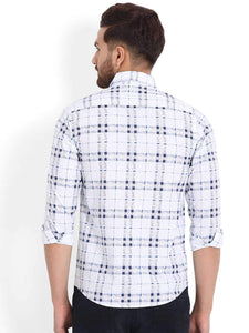 Richlook White/Tapesty Blue Printed Casual Shirt